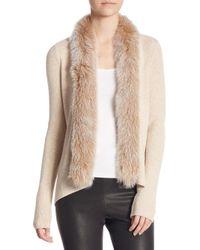 Saks Fifth Avenue - Natural Fox Fur-trim Casca Cardigan - Lyst