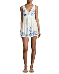 Free People - White Embroidered Aida Slip Dress - Lyst