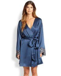 La Perla - Blue Vestaglia Corta Silk Robe - Lyst