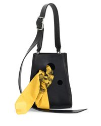 CALVIN KLEIN 205W39NYC - Black Small Smooth Leather Bucket Bag - Lyst