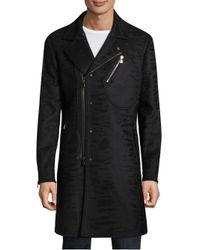 John Varvatos - Black Slim-fit Asymmetrical Coat for Men - Lyst