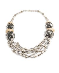 Alexis Bittar | Metallic Lucite Crystal-encrusted Sculptural Multi-strand Pearl Necklace | Lyst
