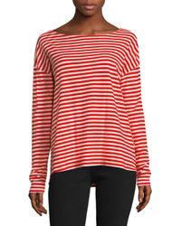 Current/Elliott - Red Breton Long-sleeve Cotton Tee - Lyst