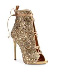 Giuseppe Zanotti - Metallic Giuseppe For Jennifer Lopez 110 Crystal-embellished Suede Lace-up Booties - Lyst