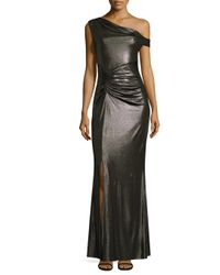 Laundry by Shelli Segal - Metallic Shirred Floor-length Gown - Lyst