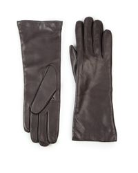 Saks Fifth Avenue - Gray Cashmere-lined Leather Gloves - Lyst