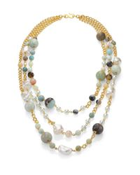Kenneth Jay Lane | Multicolor Beaded Three-strand Necklace | Lyst
