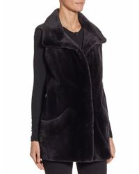 Saks Fifth Avenue - Blue Sheared Mink Vest - Lyst
