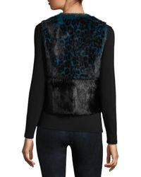 Elie Tahari - Black Cassidy Leopard Print & Goat Fur Vest - Lyst