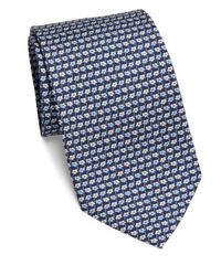Ferragamo - Blue Flower Repeat Silk Tie for Men - Lyst
