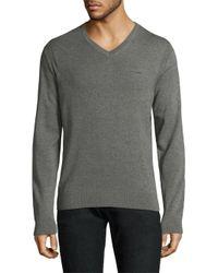 Michael Kors - Gray Merino Wool V-neck Sweater for Men - Lyst