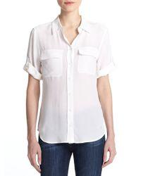 Equipment - White Short-sleeve Slim Blouse - Lyst