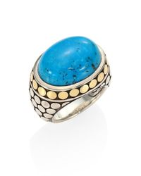 John Hardy - Metallic Dot Turquoise, 18k Yellow Gold & Sterling Silver Dome Ring - Lyst