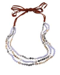 Chan Luu - 5-10mm Freshwater Pearl & Blue Lace Agate Multi-layer Necklace - Lyst
