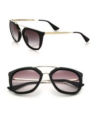 Prada - Black Double-bar 54mm Pilot Sunglasses - Lyst