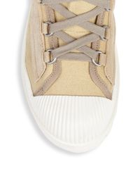 Acne - Natural Textured High-top Sneakers - Lyst