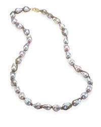 Jordan Alexander | Metallic 15mm Silver Baroque Pearl, Diamond & 18k Tri-gold Wrapped Necklace | Lyst