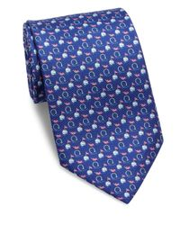 Ferragamo - Blue Gancini Print Tie for Men - Lyst