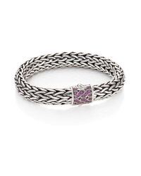 John Hardy | Metallic Classic Chain Pink Sapphire & Sterling Silver Large Bracelet | Lyst