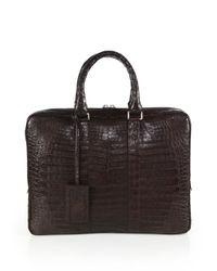 Santiago Gonzalez | Brown Crocodile Slim Briefcase for Men | Lyst