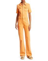 FRAME Orange Belted Flared Denim Jumpsuit