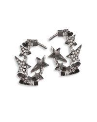 Diane Kordas - Metallic Star Diamond Line 18k Black Gold Hoop Earrings/0.5 - Lyst