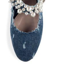 Miu Miu - Blue Pearl Bead Trim Frayed Denim Mary Jane Flats - Lyst
