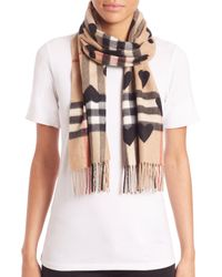 Burberry - Black Heart Print Giant Check Reversible Cashmere Scarf - Lyst