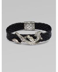 John Hardy - Black Silver Dragon & Leather Bracelet/brown for Men - Lyst
