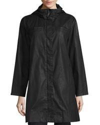 Eileen Fisher | Black Hooded A-line Jacket | Lyst