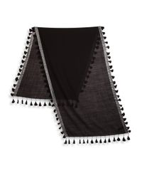 Eileen Fisher - Black Tasseled Shimmer Wool Scarf - Lyst