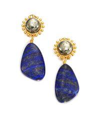 Nest - Blue Lapis Lazuli & Pyrite Drop Earrings - Lyst
