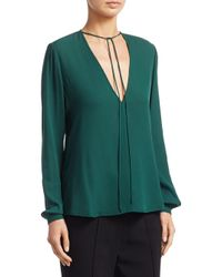 A.L.C. - Green Kirk Long Sleeve Silk V-neck Blouse - Lyst