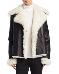 Theory - Black Curly Toscana Shearling Fur Leather Pea Coat - Lyst