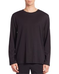 Hanro - Black Night And Day Solid Long Sleeve Tee for Men - Lyst