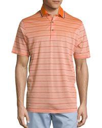 Saks Fifth Avenue - Orange Skinny Stripe Pique Polo for Men - Lyst