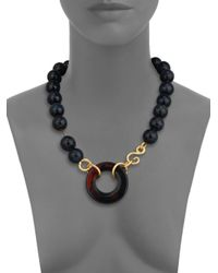 Stephanie Kantis - Lush Brown Agate & Blue Tiger's Eye Beaded Necklace - Lyst