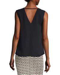 Yigal Azrouël - Black Grosgrain Bar Silk V-neck Tank Top - Lyst