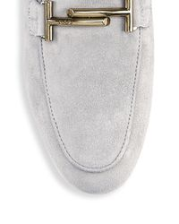 Tod's - Gray Cuoio Legg Suede Loafers - Lyst