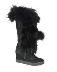 Aquatalia - Black Colette Suede, Raccoon Fur & Shearling Wedge Boots - Lyst