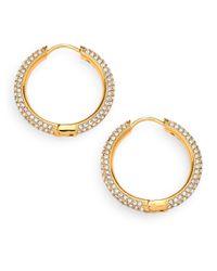 Adriana Orsini - Metallic Pave Hoop Earrings/0.8 - Lyst