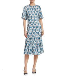 Prada - Blue Organzino Silk Flare Midi Dress - Lyst