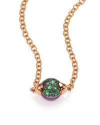 Pomellato - Metallic M'ama Non M'ama Amethyst, Tsavorite & 18k Rose Gold Pendant Necklace - Lyst