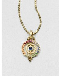 Temple St. Clair - Multicolor Mixed Sapphire & 18k Yellow Gold Dual Ring Pendant - Lyst