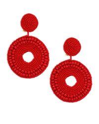 Kenneth Jay Lane - Seedbead Circle Drop Direct Pierced Earrings (red) Earring - Lyst