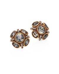 Oscar de la Renta - Metallic Women's Classic Crystal Button Stud Earrings - Gold - Lyst