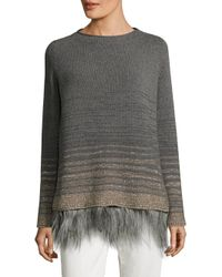 Weekend by Maxmara - Gray Feather Trimmed Knit Wool Sweater - Lyst