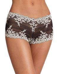Wacoal - Brown Embrace Embroidered Boyshort 67491 - Lyst