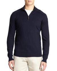 Saks Fifth Avenue - Blue Silk-blend Quarter-zip Sweater for Men - Lyst