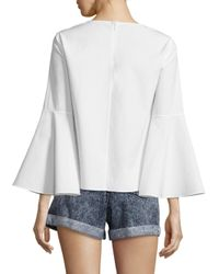 Alice + Olivia - White Shirley Bell Sleeve Cotton Tunic - Lyst